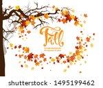 orange autumn leaves and... | Shutterstock .eps vector #1495199462