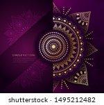 circular gold on purple... | Shutterstock .eps vector #1495212482