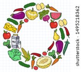 natural food   vector... | Shutterstock .eps vector #1495218362