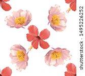 red hibiscus. pink peony.... | Shutterstock . vector #1495226252