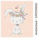 Cute White Bunny Girl Wreath Of ...
