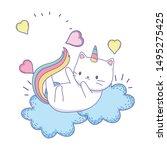 unicorn cat cartoon vector... | Shutterstock .eps vector #1495275425