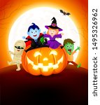 halloween cartoon set sitting... | Shutterstock .eps vector #1495326962