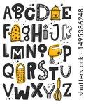 creative cartoon typeset.... | Shutterstock .eps vector #1495386248
