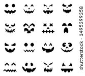 Set Of Pumpkin Faces Silhouett...