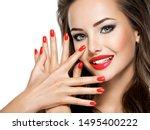 closeup face of  beautiful...   Shutterstock . vector #1495400222