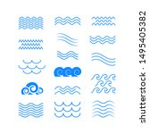set of thin line waves vector ... | Shutterstock .eps vector #1495405382