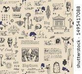 vector seamless pattern on the... | Shutterstock .eps vector #1495417088