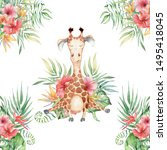 cute watercolor giraffe with... | Shutterstock . vector #1495418045