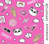 fashion patch badges with girl... | Shutterstock .eps vector #1495457138