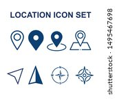 blue location icons set for ui...