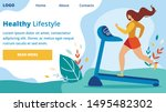 woman athlete training on...   Shutterstock .eps vector #1495482302