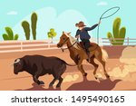 Rodeo Competition Flat Vector...