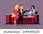couple choosing jewelry flat... | Shutterstock .eps vector #1495490225