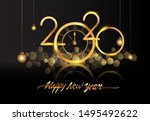 happy new year 2020   new year... | Shutterstock .eps vector #1495492622