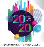 happy new year 2020 colorful... | Shutterstock .eps vector #1495492658