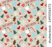 christmas seamless pattern with ... | Shutterstock .eps vector #1495556372