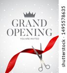 grand opening card with ribbon...   Shutterstock . vector #1495578635