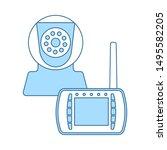 baby monitor icon. thin line...