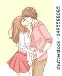 couple kissing romantic sweet... | Shutterstock .eps vector #1495588085