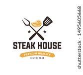 vintage steak house logo. retro ...   Shutterstock .eps vector #1495605668