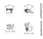 handmade colorful line logos... | Shutterstock .eps vector #1495607225
