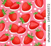 cartoon bright strawberries... | Shutterstock .eps vector #1495635572
