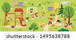 children play in the park. kids ... | Shutterstock .eps vector #1495638788