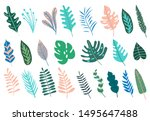 set with abstract tropical... | Shutterstock .eps vector #1495647488