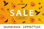 sale banner for halloween.... | Shutterstock .eps vector #1495677122
