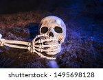 Skeleton's hand closing skull's ...