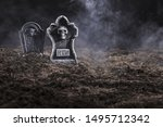 Tombstones On Night Cemetery In ...