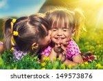 happy family. little girls twin ... | Shutterstock . vector #149573876