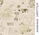 vintage sea navigation map with ... | Shutterstock .eps vector #1495777115