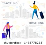 traveling concept banners with...   Shutterstock .eps vector #1495778285