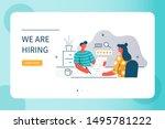 hr manager talking interview...   Shutterstock .eps vector #1495781222