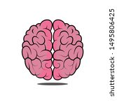 human brain. top view. flat... | Shutterstock .eps vector #1495806425