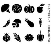 vegetables vector icons set.... | Shutterstock .eps vector #1495817948