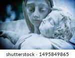 Ancient Stone Sculpture Virgin...