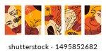 set backgrounds with women...   Shutterstock .eps vector #1495852682