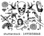 set of various vintage tattoo... | Shutterstock .eps vector #1495858868