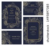 wedding invitation  with rsvp ... | Shutterstock .eps vector #1495897385