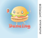 cheerful dancing burger on a... | Shutterstock .eps vector #149590238