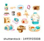 pet shop supplies with parrot ... | Shutterstock .eps vector #1495935008