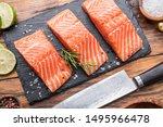 Fresh Salmon Fillets On Black...