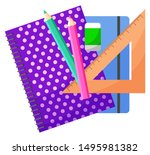 School accessory, notebook and colorful pencils, triangle ruler and eraser. Office objects, writing or painting sign, chancellery element, education vector. Back to school concept. Flat cartoon