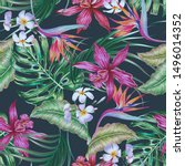 tropical floral vector seamless ... | Shutterstock .eps vector #1496014352