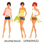 beautiful and cute teenage... | Shutterstock .eps vector #149604422