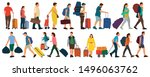 people with suitcases bags and... | Shutterstock .eps vector #1496063762