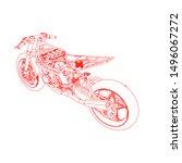line art of motorcycle.... | Shutterstock .eps vector #1496067272
